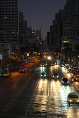 Fototapeta Bangkok,Thailand-December 5, 2019: Asok Montri intersection at the dawn in Bangkok, Thailand