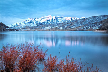 Canvas Prints Blue Winter sunrise at Deer Creek, Utah, USA.