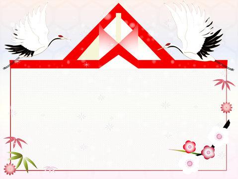 鶴と松竹梅のお祝いイラストメッセージボード薄い色背景素材