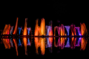 Foto auf Acrylglas Barcelona The colorful water fountain dancing in celebration festival refection color on water with dark night sky background