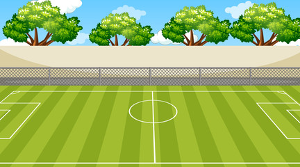 Background scene with trees around the football field