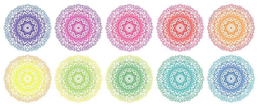 Mandala patterns in different colors