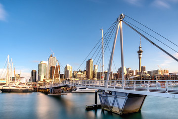 Auckland City New Zealand. Biggest city in New Zealand North Island. New Zealand financial district and business office buildings.
