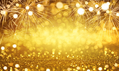 Fototapete - Gold and silver Fireworks and bokeh in New Year eve and copy space. Abstract background holiday.