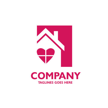 house with heart window shape logo vector, love home logo vector