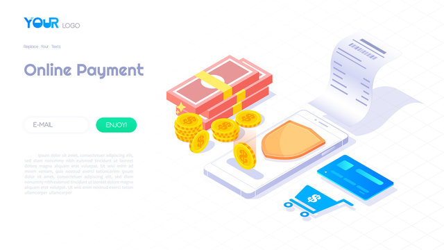 Online payment through smartphone isometric concept, billing illustration web banner, secure payment technology vector.