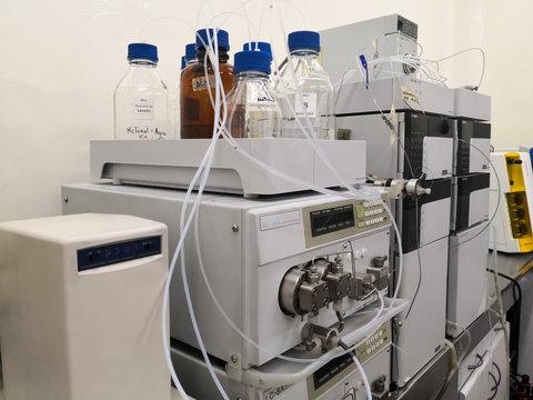 High-performance liquid chromatography equipment, HPLC, in a scientific laboratory