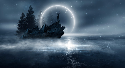 Fotomurales - Futuristic night landscape with abstract forest landscape. Dark natural forest scene with reflection of moonlight in the water, neon blue light. Dark neon circle background, dark forest, deer, island.
