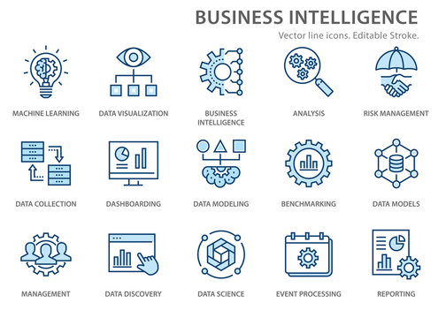 Business Intelligence icons set. Vector illustration. Editable stroke.