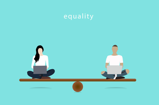 Gender Equality Concept. woman and man vector balancing on scale. Equality Vector illustrator.