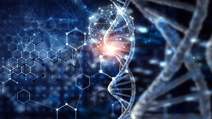 Biotechnology digital background . Mixed media Fotomurales