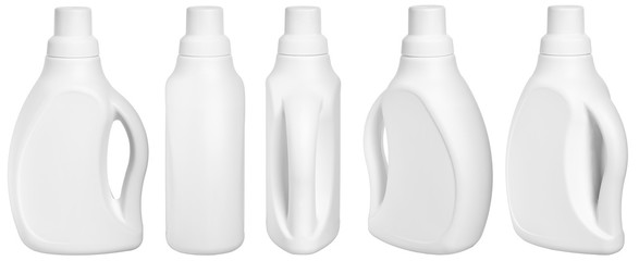 white detergent plastic bottle with measuring cap and cleaning liquid isolated on white