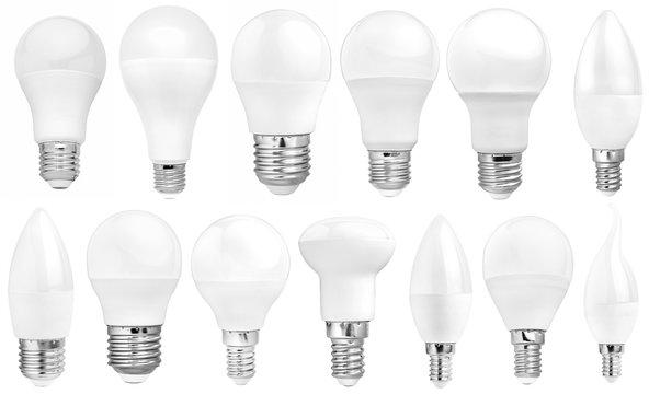 set of isolated modern LED bulb