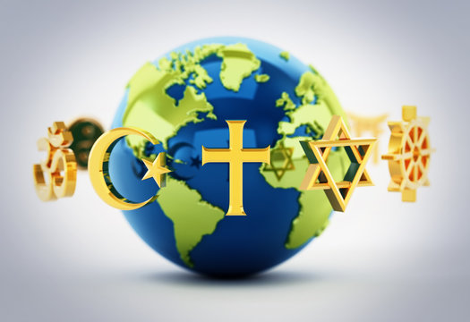 Religion symbols scattered around earth . 3D illustration
