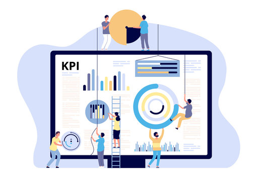 KPI concept. Key performance indicator marketing, business digital metric. Campaign measuring, product traffic reports. Vector banner business kpi indicator for marketing optimization illustration