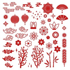 Chinese new year elements. Red asian traditional pattern, cloud and decorative lotus flower. Oriental lanterns, sakura and fan vector set. Illustration chinese traditional, asian cloud cartoon