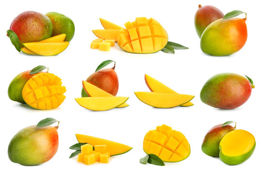 Collage with tasty mango fruit on white background