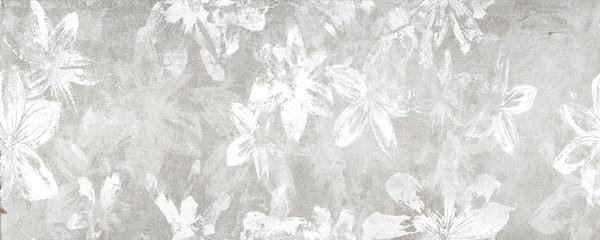 Bloemen op de oude witte muurachtergrond, digitale muurtegels of behangontwerp