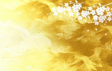 Wall Mural - 金色の和紙を背景にした桜