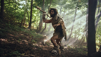 Primeval Caveman Wearing Animal Skin Holds Stone Tipped Spear Looks Around, Explores Prehistoric Forest in a Hunt for Animal Prey. Neanderthal Going Hunting in the Jungle Wall mural
