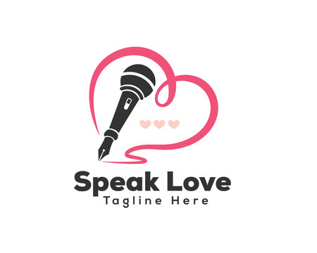 Love speak microphone logo design inspiration
