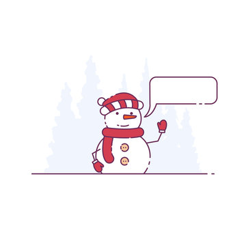 Cute snowman rise hand and saying something. Snow forest on background. Christmas hat, red scarf and mittens. Speech bubble or call-out message template.