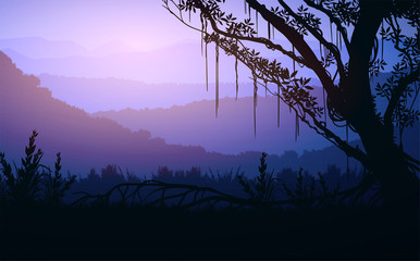 Foto auf Leinwand Flieder Natural forest trees mountains horizon hills and the route Sunrise and sunset Landscape wallpaper Illustration vector style Colorful view background