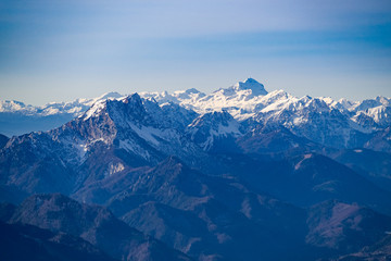 Foto op Canvas Alpen Panoramic view of the Julian Alps with Triglav mountain from the top of the Peca mountain, Slovenia