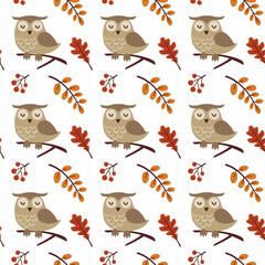 Canvas Prints Owls cartoon Owl seamless pattern. Bird in autumn forest vector illustration. Childish animal background.
