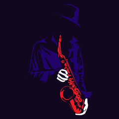 Jazz saxophone player illustration in the shadow cartoon vector silhouette