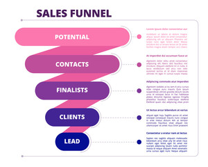 Funnel sales. Marketing business symbols of leads generation and conversion vector infographic picture. Illustration potential contact and conversion optimization marketing