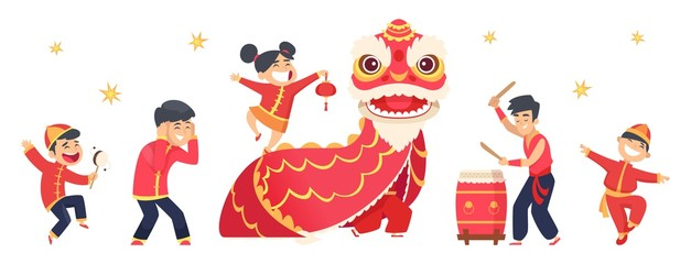 Chinese characters. Asian festive New Year cute boys and girls. Isolated red dragon, carnival event vector illustration. Dragon red chinese, festival in red costume