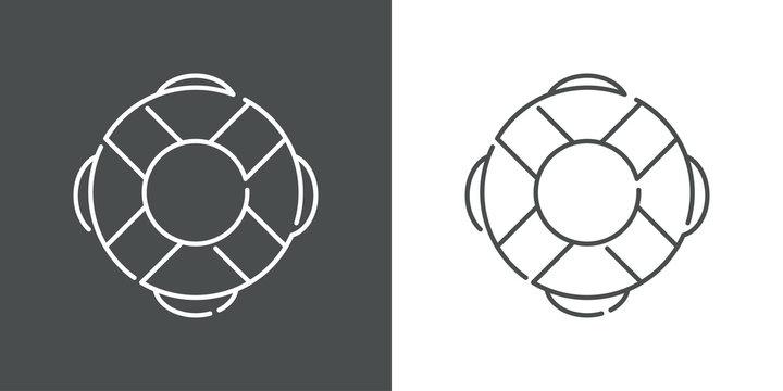 Icono plano lineal salvavidas en fondo gris y fondo blanco