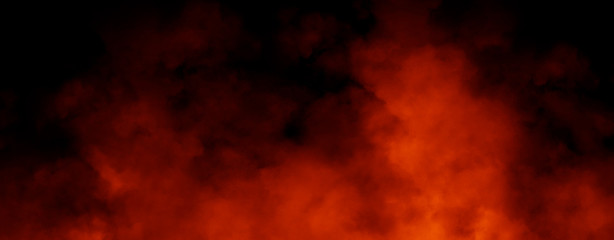 Panoramic view misty fire smoke background. Abstract texture overlays for copyspace. Stock illustration.