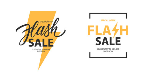 Flash Sale promotional labels templates set. Special offer text design with thunder sign and hand lettering for business, discount shopping, sale promotion and advertising. Vector illustration.