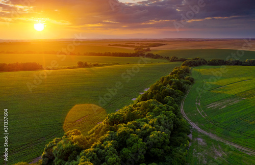 Wall mural Aerial top view of green rural area under colorful sky at sundown.