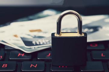 Fototapeta lock and credit card, security concept