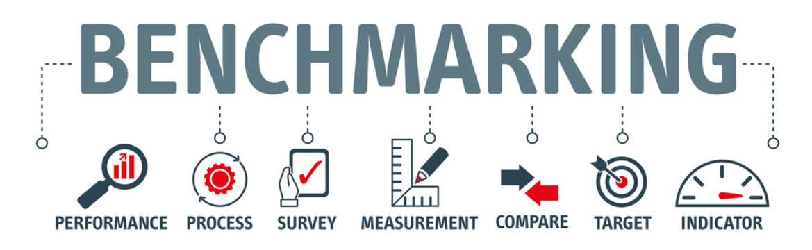 Benchmarking vector illustration banner with icons