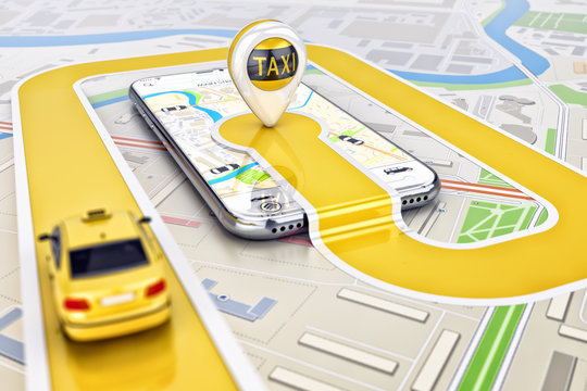 Online mobile application taxi ordering service concept, yellow taxi car driving along the route to the marker on a smartphone, on a city map