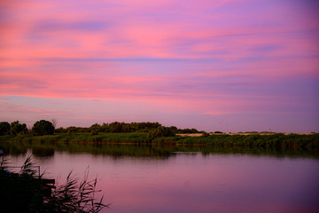 Foto op Plexiglas Candy roze Orange River Sunset in South Africa , Free State