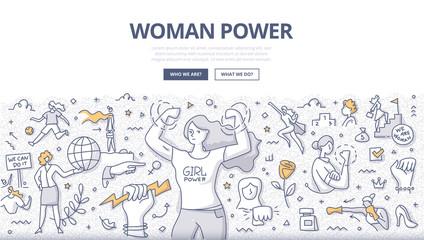 Woman Power Doodle Concept