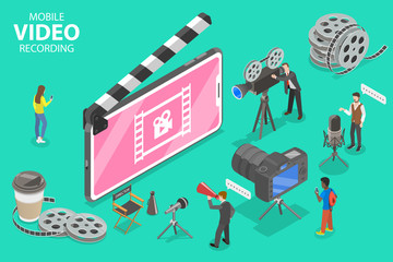 Isometric Flat Vector Concept of Mobile Video Recoding App, Motion Design Studio Software, Multimedia Production, Video Blogging.