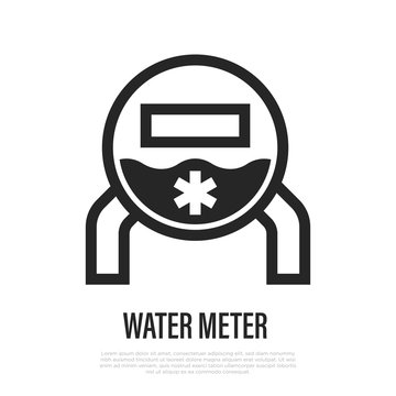 Water meter thin line icon. Indication of water consumption. Vector illustation.
