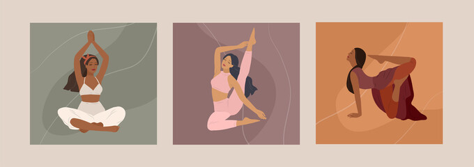 Feminine concept. Cute girl doing yoga poses. Lifestyle by young woman. Fashion illustration by femininity, beauty and mental health. Vector cartoon Wall mural