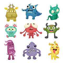 Photo sur Aluminium Creatures Colorful Cartoon Monsters with Different Emotions on Their Muzzles Vector Set