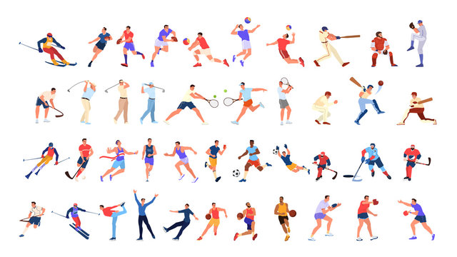 Sport people set. Collection of different sport activity. Professional athlet