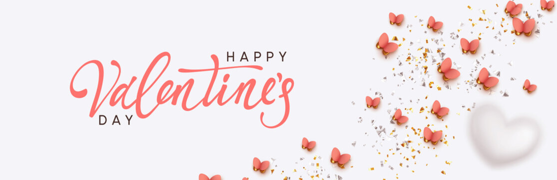 Happy Valentine's Day. Romantic background design with butterflies, white hearts and glitter confetti. Flying pink butterfly. Greeting card, banner, web poster. Festive vector illustration.