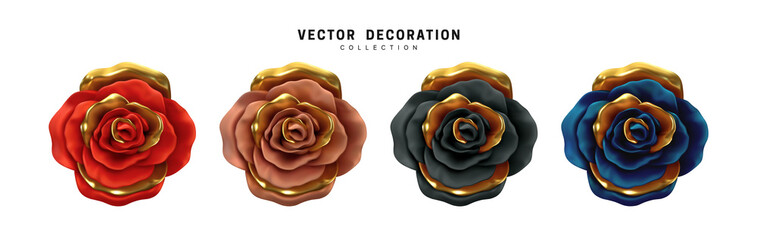 Flower Rose, buds set isolated on white background. Roses 3d Multicolored Chameleon color. Collection of vector decorative design elements. Wall mural