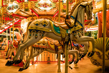 Papiers peints Attraction parc Vintage carousel in Tivoli Gardens, amusement park in Copenhagen