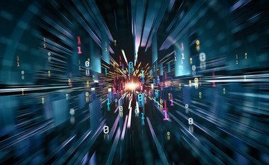 Abstract cyberspace. Digital world and future technology. Speed, power and a breakthrough to success. 3D illustration of clusters of information with a binary code element